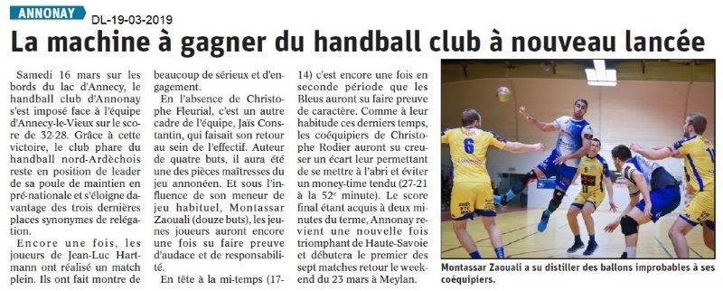 Dauphiné Libéré du 19-03-2019- Handballeurs d' Annonay