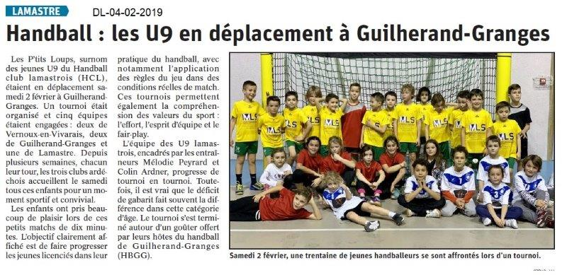 Dauphiné Libéré du 04-02-2019- Les handballeurs de Lamastre
