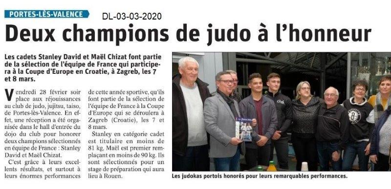 Dauphiné libéré du 03-03-2020- Judo Plv
