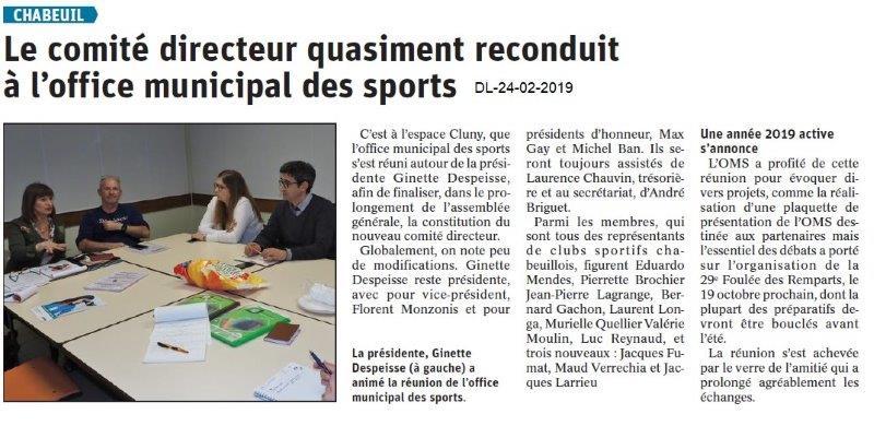 Dauphiné Libéré du 24-02-2019- OMS Chabeuil