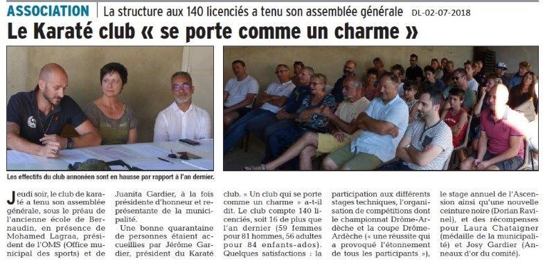 Dauphiné Libéré du 02-07-2018- Le Karaté Club d'Annonay