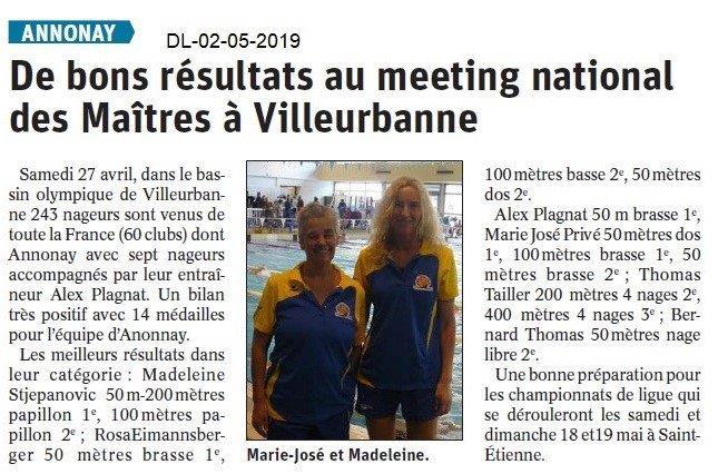 Le Dauphiné Libéré du 02-05-2019- Natation d'Annonay