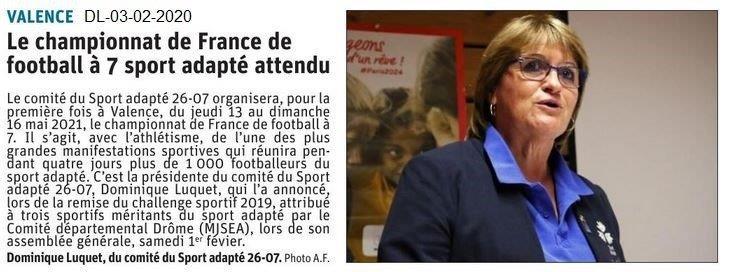 Le Dauphiné Libéré du 03-02-2020- Sport-Adapté Foot à 7 en 2021