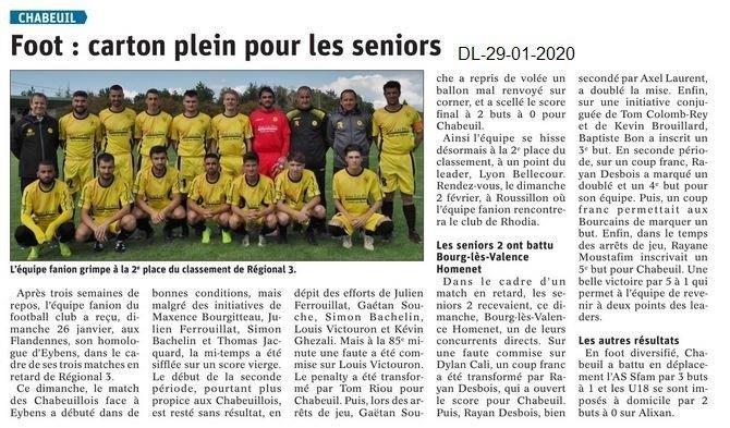 Dauphiné Libéré du 29-01-2020- Foot Chabeuil