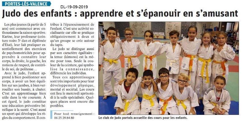 Dauphiné libéré du 19-09-2019- Judo enfants de PLV