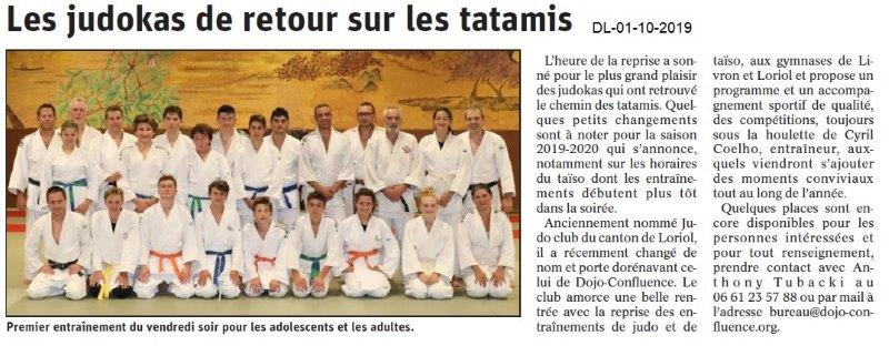 Dauphiné libéré du 01-10-2019- Judo Dojo-Confluence Livron-Loriol