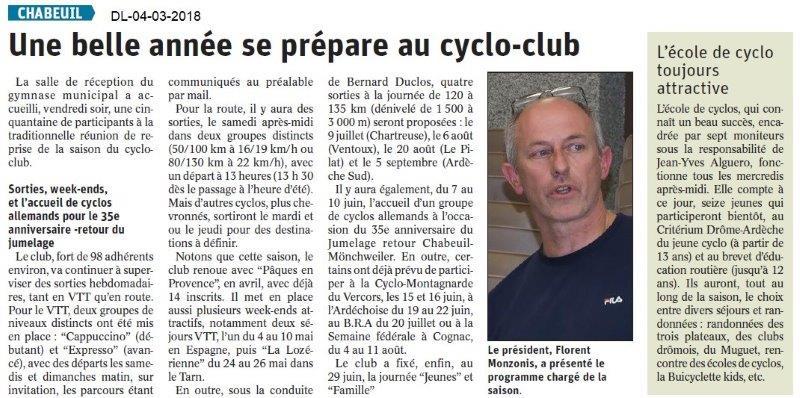 Le Dauphiné Libéré du 04-03-2019- Planning du Cyclo club de Chabeuil