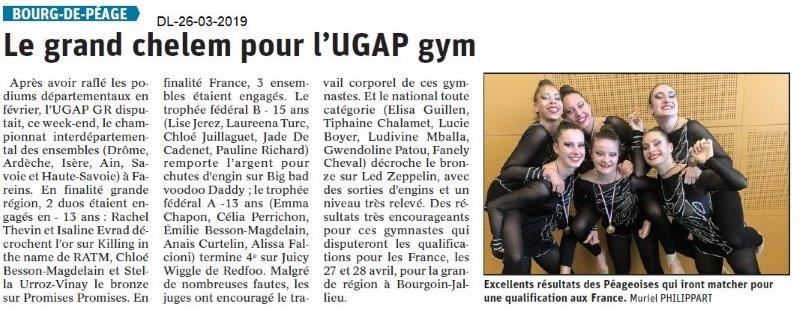 Dauphiné Libéré du 26-03-2019- UGAP Gym Bourg de Péage