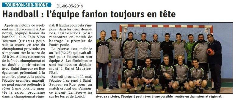 Le Dauphiné Libéré du 08-05-2019- Football de Tournon
