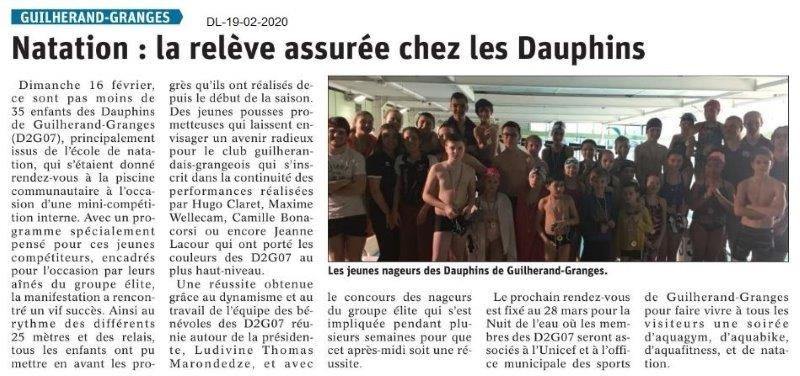 Dauphiné Libéré du 19-02-2020- Natation Guilherand