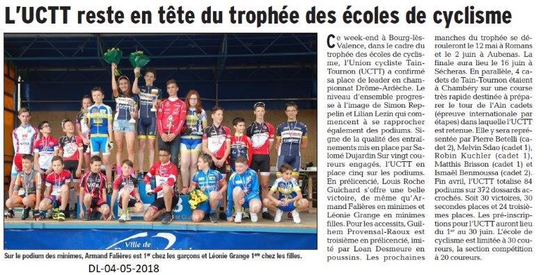 Dauphiné Libéré du 04-05-2018- Cyclisme- Tain-Tournon