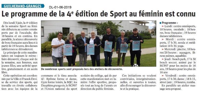Le Dauphiné libéré du 01-06-2019- Sport au féminin Guilherand