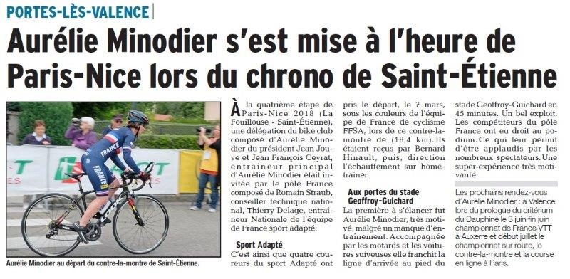 Dauphiné Libéré du 14-03-2018 A.Minodier-Equipe de France-Portes-lès-Valence