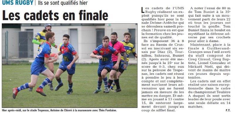 Dauphiné Libéré du 25-03-2018-UMS Rugby-Montélimar