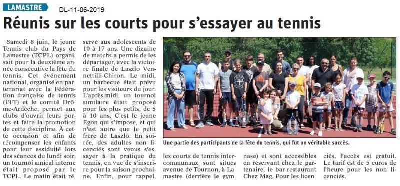 Dauphiné Libéré du 11-06-2019- Tennis de Lamastre