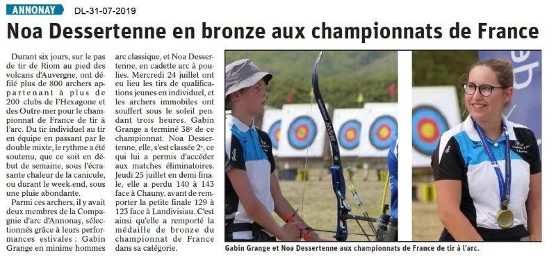 Dauphiné Libéré du 31-07-2019- Tir à l'Arc d'Annonay