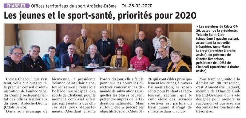 Dauphiné Libéré du 28-02-2020- CA du CDOTS 07-26 à Chabeuil