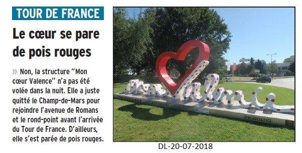 Dauphiné Libéré du 20-07-2018- L'étape du Tour de France à Valence se prépare
