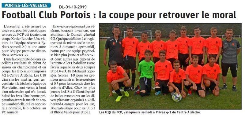 Dauphiné libéré du 01-10-2019- Football de Portes-lès-Valence.