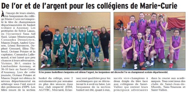 Dauphiné Libéré du 06-03-2018 Basket-Tournon