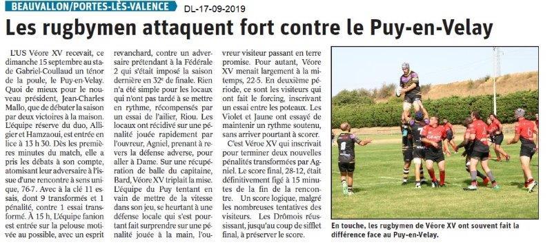 Dauphiné libéré du 17-08-2019- Rugby de Portes-lès-Valence