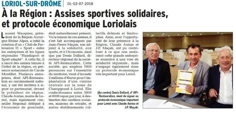 Dauphiné Libéré du 02-07-2018- Assises sportives avec Loriol
