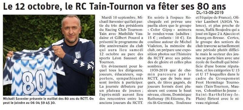 Dauphiné libéré du 13-09-2019- RC Tain-Tournon