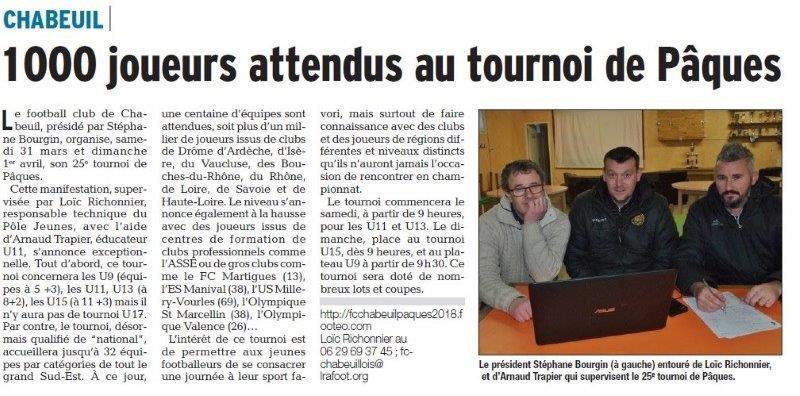 Dauphiné Libéré du -27-03-2018-FOOT tournoi de Pâques-Chabeuil