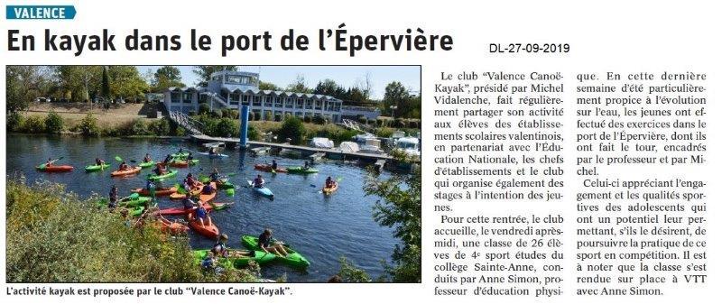Dauphiné libéré du 27-09-2019- Valence Canoë kayak