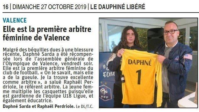 Dauphiné libéré du 27-10-2019- Arbitre féminine à Valence