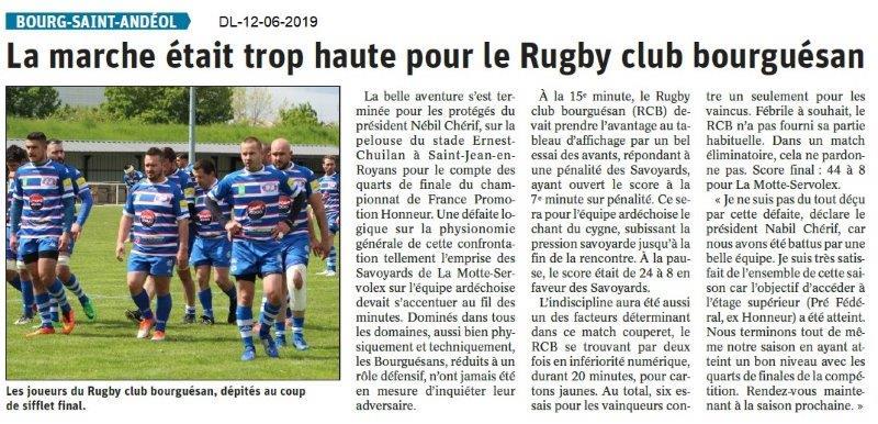 Dauphiné Libéré du 12-06-2019- Rugby Club Bourguésan