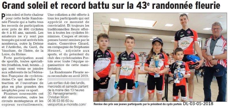 Dauphiné Libéré du 03-05-2018-Cyclos portois 43ième Rando Fleurie