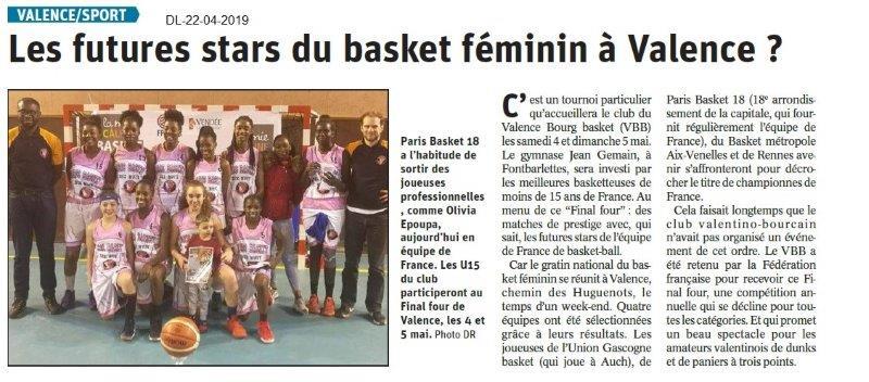 Le Dauphiné Libéré du 22-04-2019- Basket à Valence