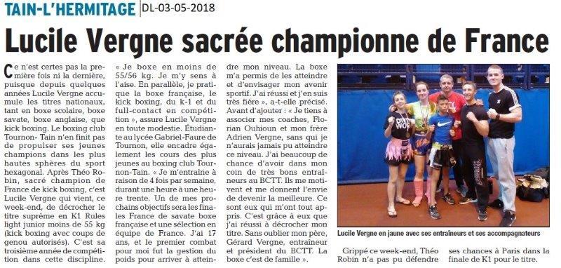 Dauphiné Libéré du 03-05-2018-Boxe Championne de France-Tain-l'Hermitage