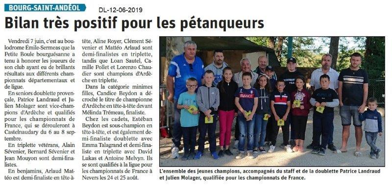 Dauphiné Libéré du 12-06-2019- Pétanqueurs Bourguésan
