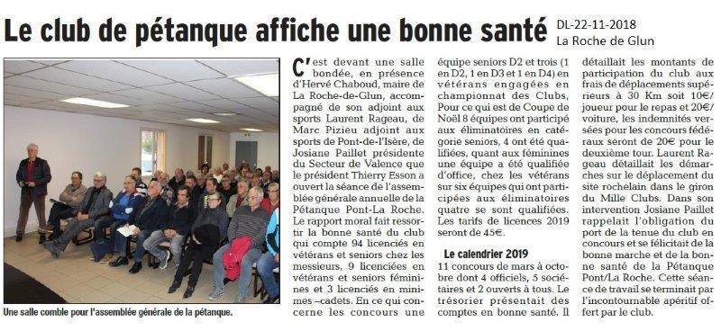 Dauphiné Libéré le 22-11-2018- La Roche de Glun-Pétanque