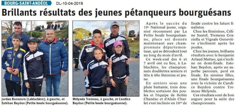 Le Dauphiné Libéré du 10-04-2019- Jeunes pétanqueurs de BSA