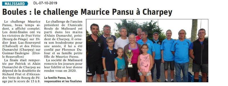 Dauphiné libéré du 07-10-2019- Challenge à Charpey