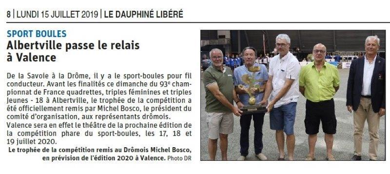 Dauphiné Libéré du 15-07-2019- Sports boule