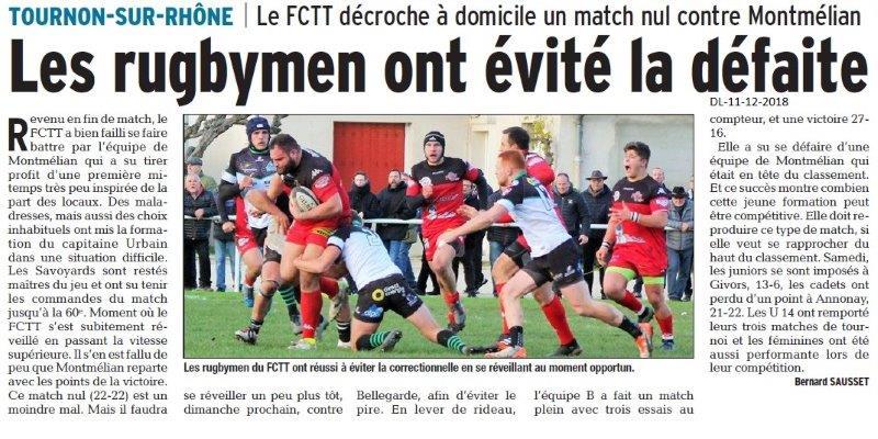 Dauphiné Libéré du 11-12-2018- Rugbymens de Tain-Tournon