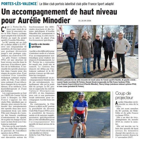 Dauphiné Libéré du 26-09-2018- Aurélie VTT avec le BIKE CLUB