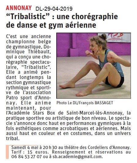 Le Dauphiné Libéré du 29-04-2019- Gym aérienne Annonay