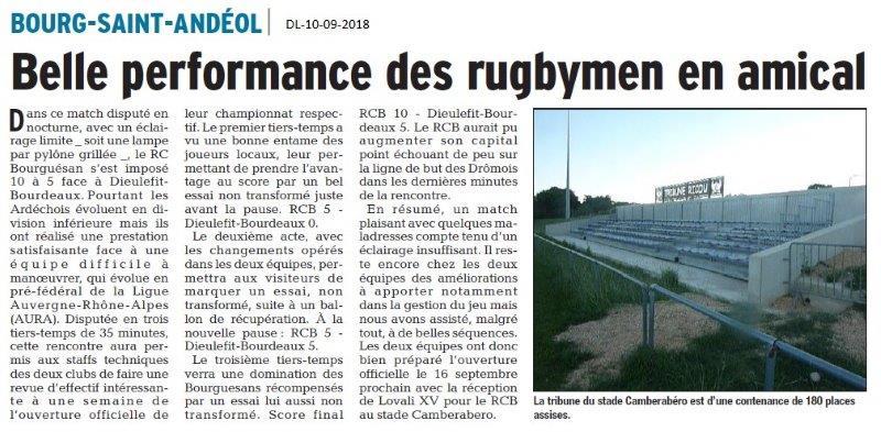 Dauphiné Libéré du 10-09-2018- Rugby à Bourg Saint-Andéol