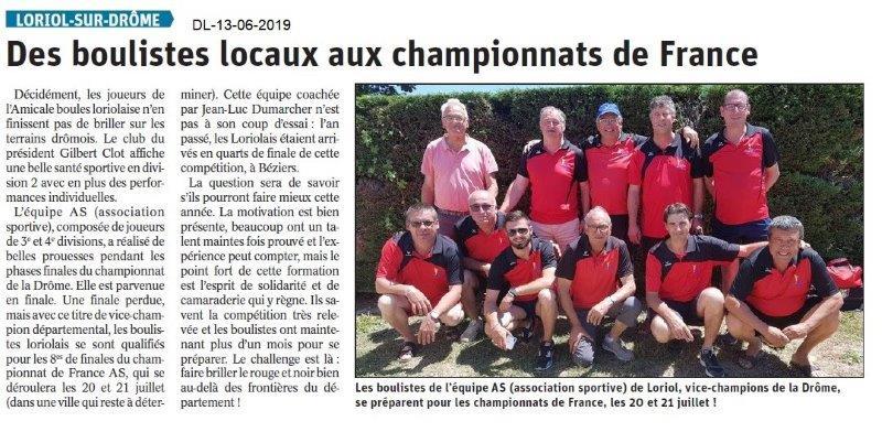 Dauphiné Libéré du 13-06-2019- Les boulistes de Loriol