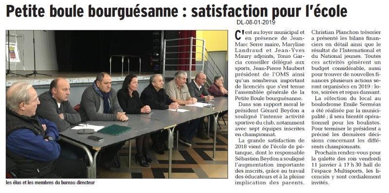 Dauphiné Libéré du 08-01-2019- BSA Petite boule bourgaisanne