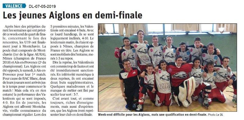 Le Dauphiné Libéré du 07-05-2019- Les Aiglons de Valence