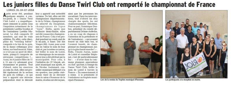 Dauphiné Libéré du 04-07-2018- Danse TWL Club de LORIOL