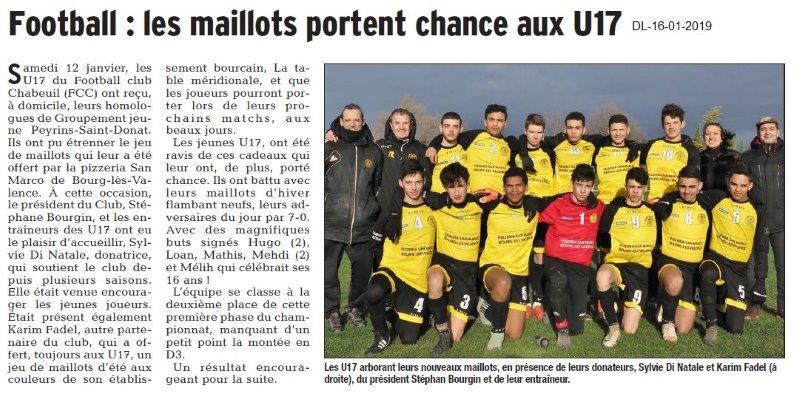 Dauphiné Libéré du 16-01-2019- Foot -Chabeuil