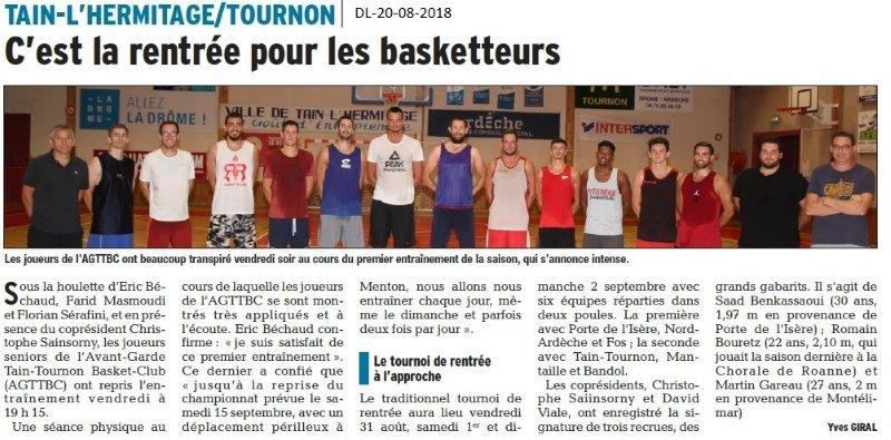 Dauphiné Libéré du 20-08-2018- Rentrée pour les Basketeurs