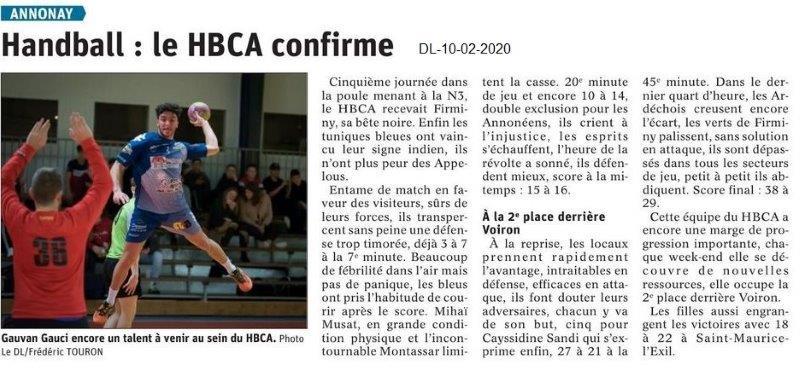Le Dauphiné Libéré du 10-02-2020- Handball d'Annonay